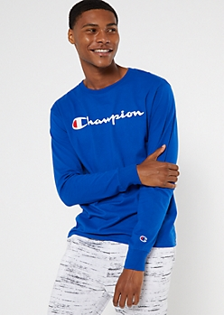 Champion Royal Blue Long Sleeve Logo Tee