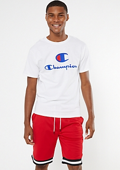 Champion White Double Logo Graphic Tee