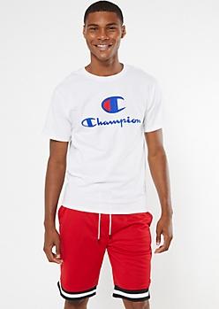 Champion White Double Logo Graphic Tee