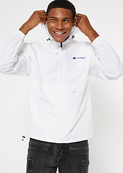 Champion White Quarter Zip Packable Windbreaker
