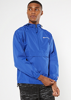Champion Blue Gold Quarter Zip Packable Windbreaker
