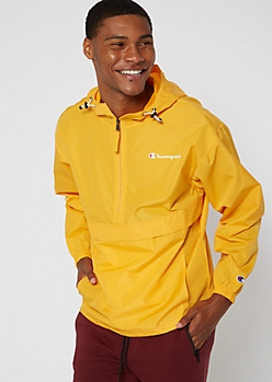 Champion Yellow Gold Quarter Zip Packable Windbreaker