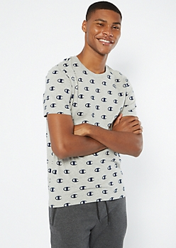 Champion Heather Gray Allover Print Tee