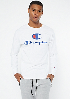 Champion White Logo Chest Long Sleeve Tee