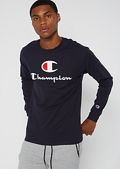 Champion Navy Logo Chest Long Sleeve Tee
