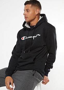 Champion Black Scripted Graphic Hoodie