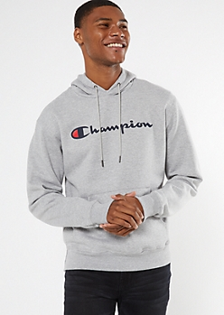 Champion Gray Scripted Graphic Hoodie