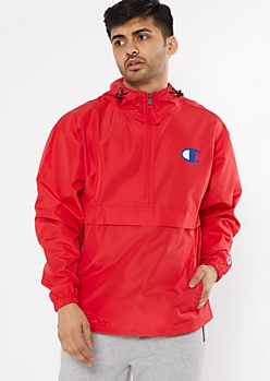 Champion Red Quarter Zip Windbreaker