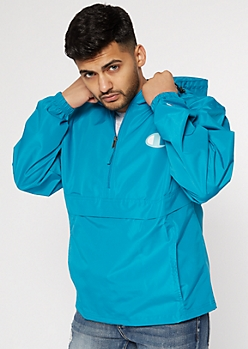 Champion Teal Quarter Zip Windbreaker