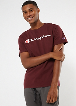 Champion Burgundy Scripted Graphic Tee