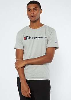 Champion Heather Gray Logo Tee