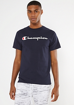 Champion Navy Logo Graphic Tee