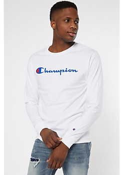 Champion White Long Sleeve Graphic Tee