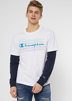 Champion White Graphic Layered Top