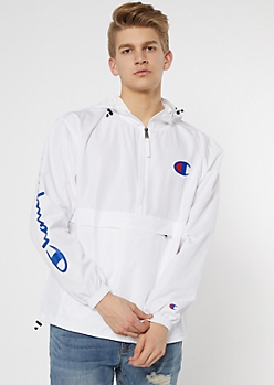 Champion White Half Zip Hooded Windbreaker