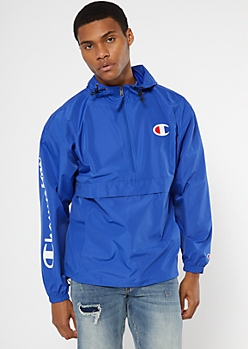 Champion Royal Blue Half Zip Graphic Windbreaker