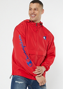Champion Red Half Zip Hooded Windbreaker