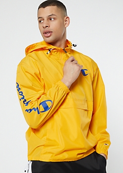 Champion Yellow Half Zip Hooded Windbreaker