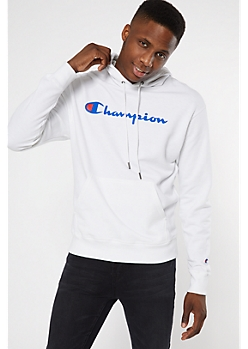 Champion White Fleece Graphic Hoodie