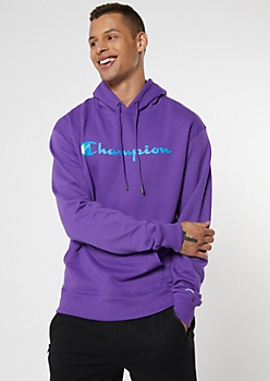Champion Purple Fleece Graphic Hoodie