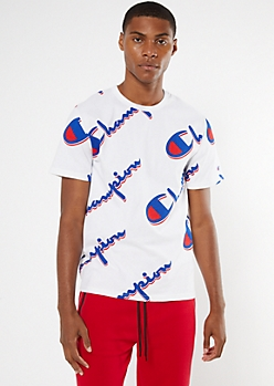 Champion White Allover Logo Graphic Tee