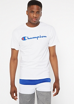 Champion White Short Sleeve Graphic Tee