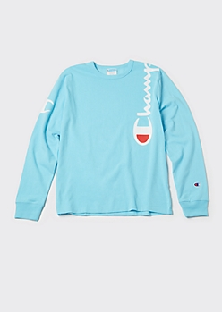 Champion Blue Long Sleeve Logo Shoulder Tee