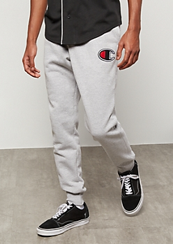 Champion Gray Embroidered Logo Fleece Joggers