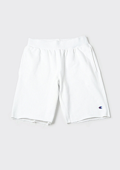 Champion White Raw Cut Sweat Shorts