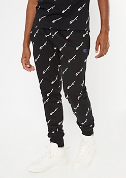 Champion Black Allover Print Joggers