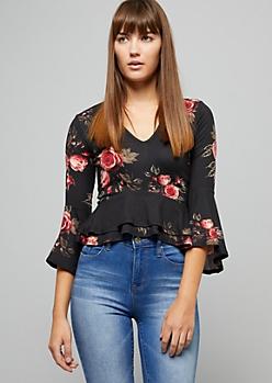 Black Floral Print Ruffled Peplum Crop Top