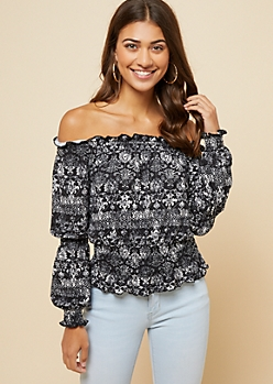 Black Paisley Print Ruffled Smocked Off The Shoulder Top