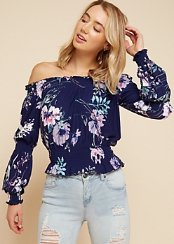 Navy Floral Print Ruffled Smocked Off The Shoulder Top