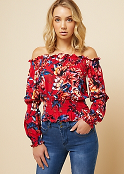 Red Floral Print Ruffled Smocked Off The Shoulder Top
