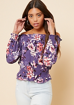 Purple Floral Print Off The Shoulder Smocked Lettuce Edge Top