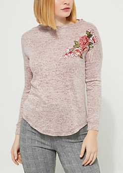 Dark Pink Rose Embroidered Hacci Knit Top