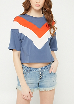 Navy Colorblock Chevron Crop Top