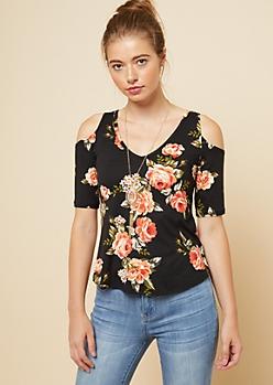 Black Floral Print V Neck Cold Shoulder Necklace Top