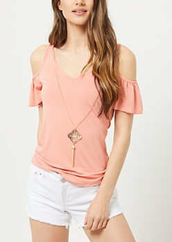 Coral Cold Shoulder Necklace Top