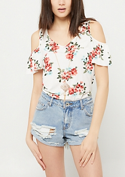 White Floral Print Cold Shoulder Necklace Top