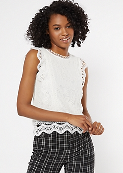 White Scalloped Lace Flutter Sleeve Tank Top