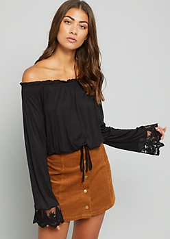 Black Lace Flared Sleeve Off the Shoulder Top