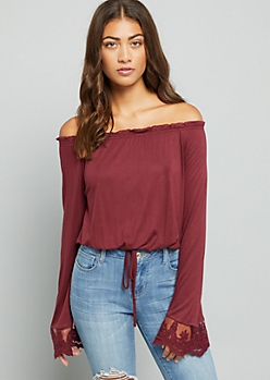 Burgundy Lace Flared Sleeve Off the Shoulder Top