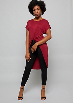 Burgundy Tie Front High Low Tunic