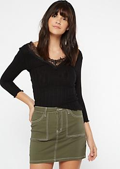 Black X Back Lace Neck Sweater