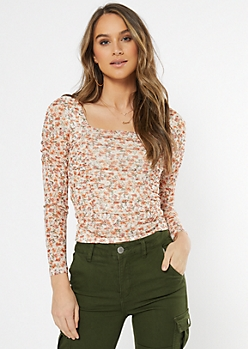 Ivory Floral Ruched Mesh Square Neck Top
