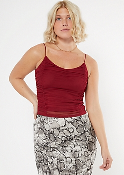 Burgundy Ruched Mesh Cropped Cami