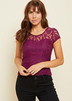 Purple Lace Built In Bra Skimmer Top