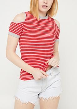 Red Striped Cold Shoulder Ringer Tee