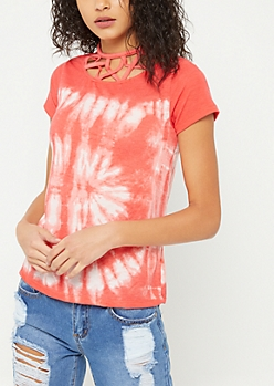 Coral Tie Dye Caged Tee